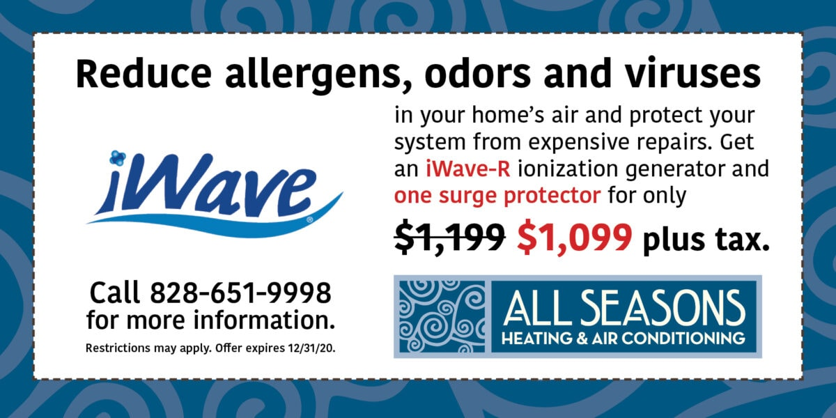 iWave-R and Surge Protector for $1099 plus tax, Indoor Air Quality, IAQ, All Seasons Heating and Air Conditioning | Expires 12/31/20